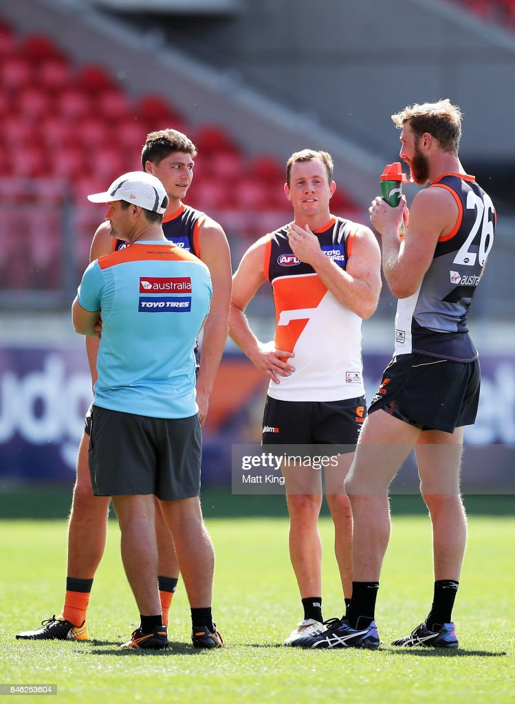 Steve Johnson of the Giants talks to team mates during the Greater Western Sydney Giants AFL training session at Spotless Stadium on September 13, 2017 in Sydney, Australia.