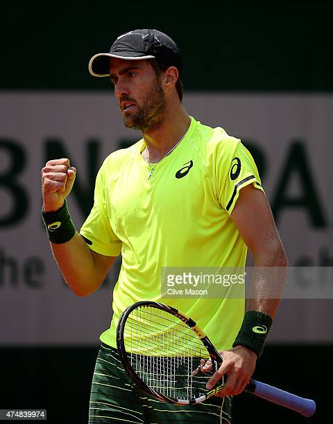 Steve Johnson of the United States celebrates a point during his men's singles match against Sergiy Stakhovsky of Ukraine during day four of the 2015...