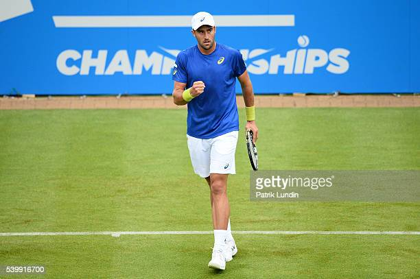 Steve Johnson of the United States celebrates winning a point against Steve Johnson of the United States on day 1 at Queens Club on June 13 2016 in...