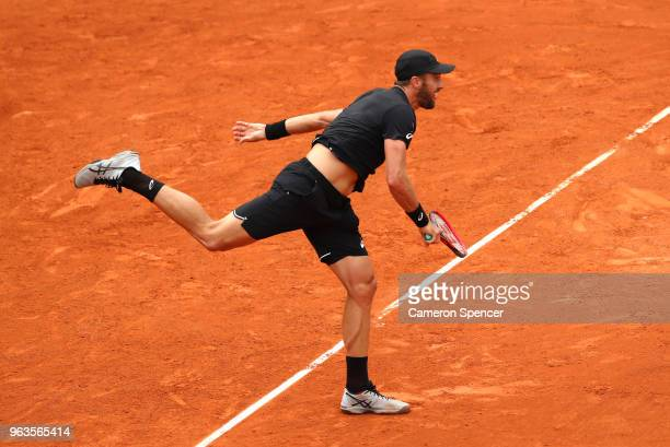 Steve Johnson of The United States serves during the mens singles first round match against Adrian Mannarino of France during day three of the 2018...