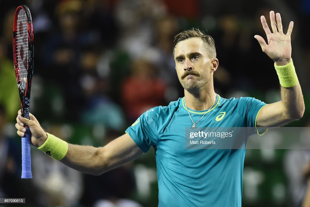 Steve Johnson of the USA celebrates winning his match against Dominic Thiem of Austria during day two of the Rakuten Open at Ariake Coliseum on October 3, 2017 in Tokyo, Japan.