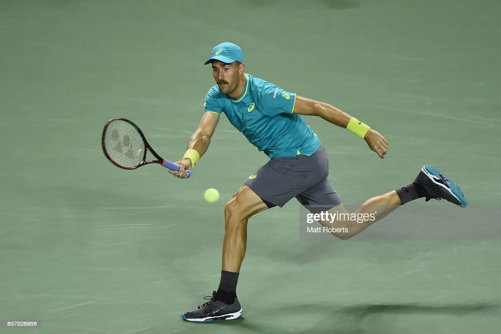 Steve Johnson of the USA plays a forehand against Dominic Thiem of Austria during day two of the Rakuten Open at Ariake Coliseum on October 3, 2017 in Tokyo, Japan.