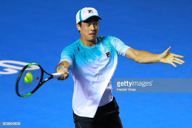 Steve Johnson of United States takes a forehand shot during a match between Steve Johnson of United States and Alexander Zverev of Germany as part of...