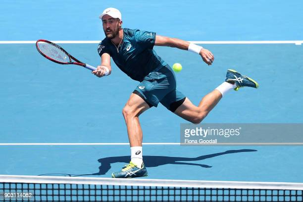 Steve Johnson of USA plays a forehand in his second round match against Roberto Bautista Agut of Spain during day three of the ASB Men's Classic at...