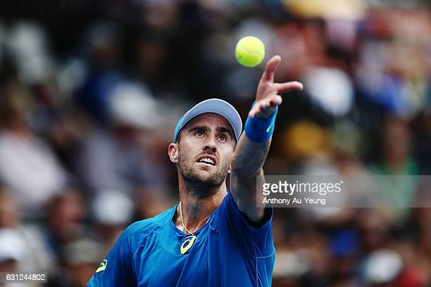 Steve Johnson of USA serves in his match against Stephane Robert of France on day eight of the ASB Classic on January 9 2017 in Auckland New Zealand