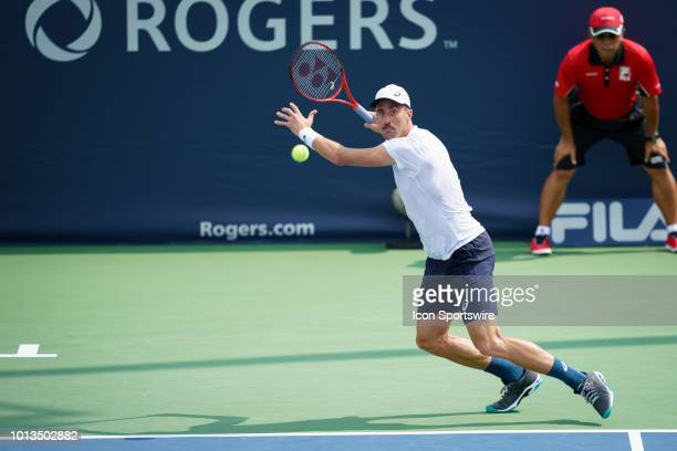 Steve Johnson returns the ball during his first round match of the Rogers Cup tennis tournament on August 6 at Aviva Centre in Toronto ON Canada
