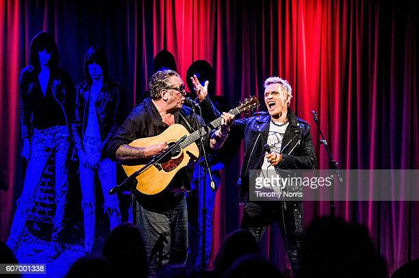 Steve Jones and Billy Idol perform during Hey Ho Let's Go Celebrating 40 Years of the Ramones at The GRAMMY Museum on September 16 2016 in Los...