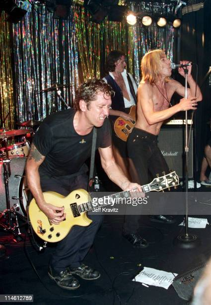 Steve Jones John Taylor and Iggy Pop performing with Neurotic Outsiders