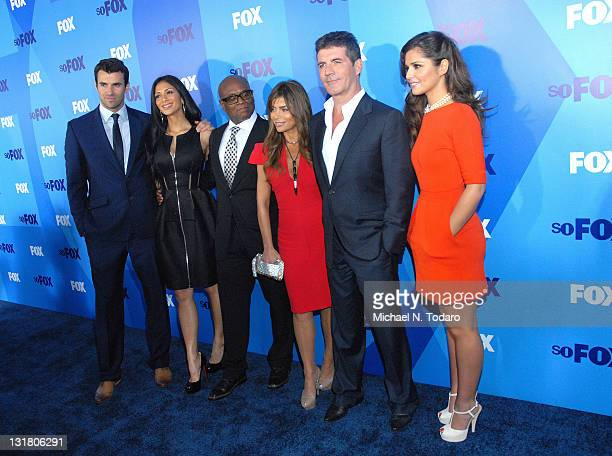 Steve Jones Nicole Scherzinger LA Reid Paula Abdul Simon Cowell and Cheryl Cole attend the 2011 Fox Upfront at Wollman Rink Central Park on May 16...