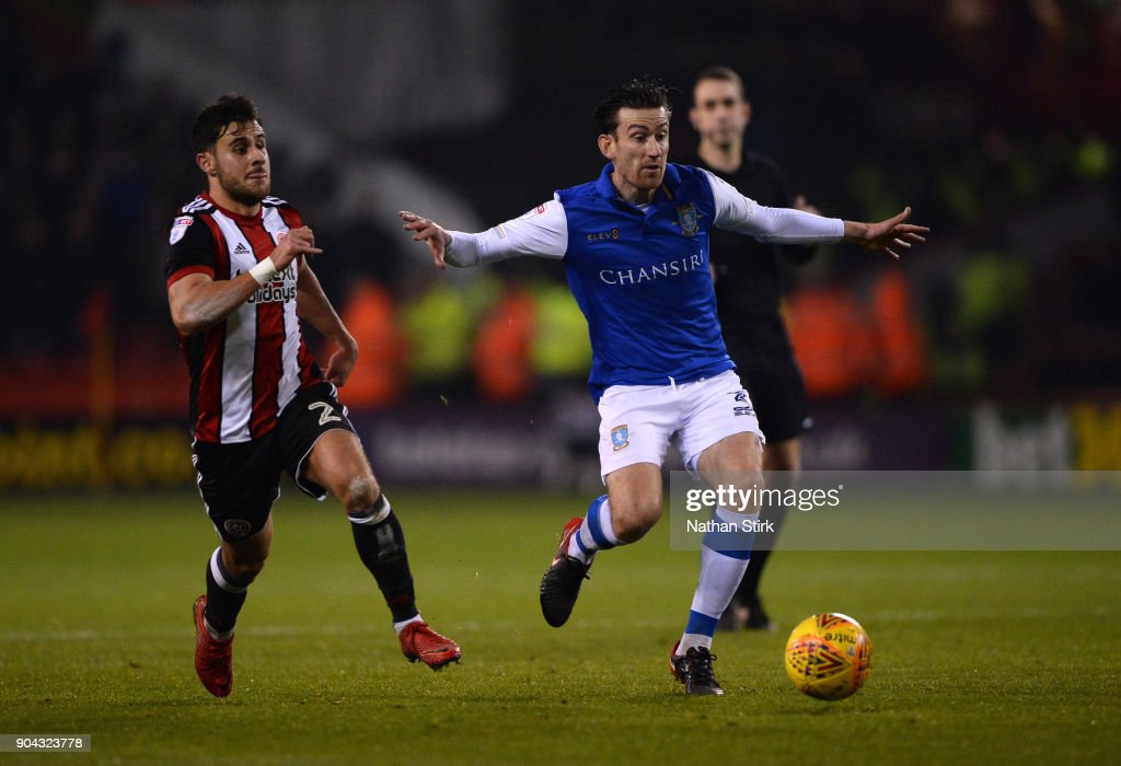Steve Jones of Sheffield Wednesday in action during the Sky Bet Championship match between Sheffield United and Sheffield Wednesday at Bramall Lane on January 12, 2018 in Sheffield, England.