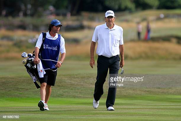Steve Jones of United States in action during the first round of The Senior Open Championship played at Sunningdale Golf Club on July 23 2015 in...