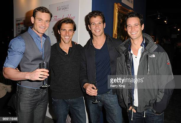 Steve Jones television personalities Madison Hildebrand Kevin Peake and Frank Meli attend the 15th Annual LA Art Show opening night gala held at the...
