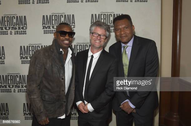 Steve Jordan Americana Music Association Executive Director Jed Hilly and Robert Cray attend the 2017 Americana Music Association Honors Awards on...