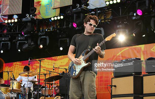 Steve Jordan and John Mayer of the John Mayer Trio performs onstage during the 2010 Crossroads Guitar Festival at Toyota Park on June 26 2010 in...