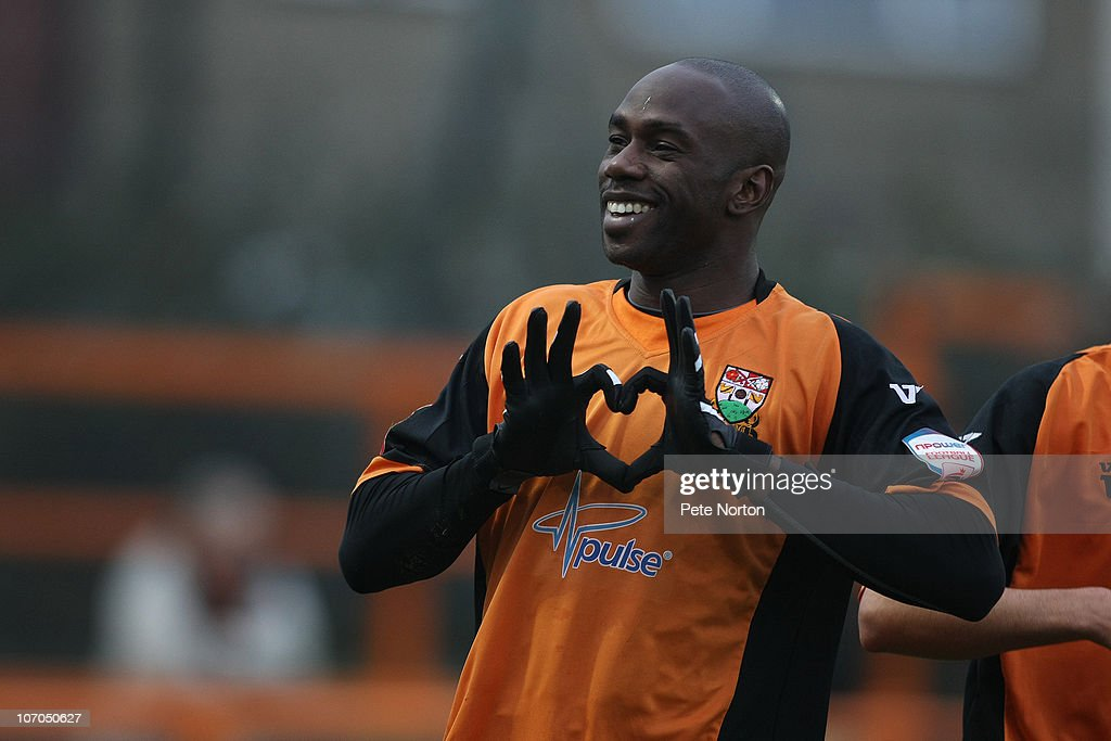 Steve Kabba of Barnet celebrates after scoring his and his sides first goal during the npower League Two match between Barnet and Northampton Town at Underhill Stadium on November 20, 2010 in Barnet, England
