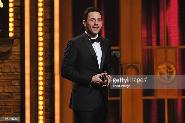 Steve Kazee accepts award for Best Performance by a Leading Actor in a Musical for Once onstage at the 66th Annual Tony Awards at The Beacon Theatre...