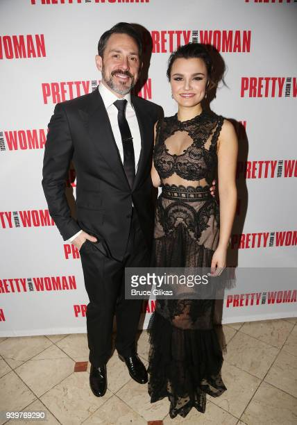 Steve Kazee and Samantha Barks pose at The Opening Night After Party for the Broadway bound musical based on the iconic film Pretty Woman at Macy's...