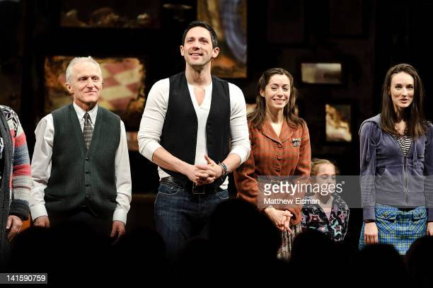 Steve Kazee Cristin Milioti and cast take the opening night curtain call for 'Once' Broadway premiere at The Bernard B Jacobs Theatre on March 18...