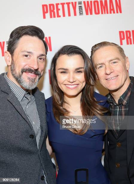 Steve Kazee Samantha Barks and Composer Bryan Adams pose at a photo call for the new Broadway bound musical based on the hit iconic film Pretty Woman...