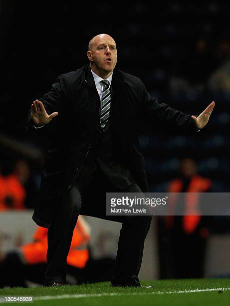 Steve Kean manager of Blackburn Rovers gives out instructions during the Carling Cup Fourth Round match between Blackburn Rovers and Newcastle United...