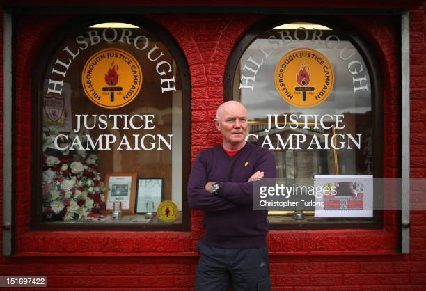 Steve Kelly of the Hillsborough Justice Campaign poses outside the campaign headquarters near Anfield Stadium home of Liverpool Football Club on...