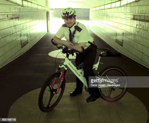 PC Steve Keown with the part carbon fibre Smith and Wesson bike that West Midlands Police are trialing in the centre of Coventry The bike shown by...