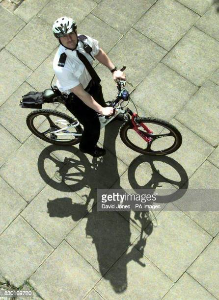 PC Steve Keown with the part carbon fibre Smith and Wesson bike that West Midlands Police are trialing in the centre of Coventry the Police are...