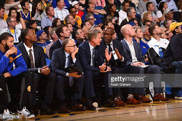 Steve Kerr and Mike Brown of the Golden State Warriors during the game against the Oklahoma City Thunder on November 3 2016 at ORACLE Arena in...