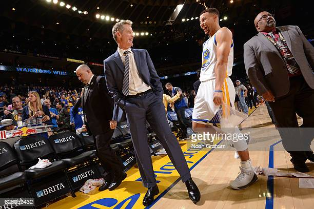 Steve Kerr and Stephen Curry of the Golden State Warriors smile and laugh after the game against the Indiana Pacers on December 5 2016 at ORACLE...