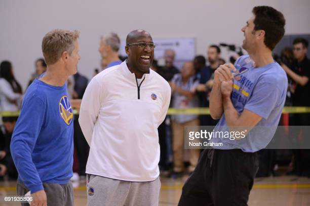 Steve Kerr Mike Brown and Bob Meyers of the Golden State Warriors smile and laugh during practice and media availability as part of the 2017 NBA...