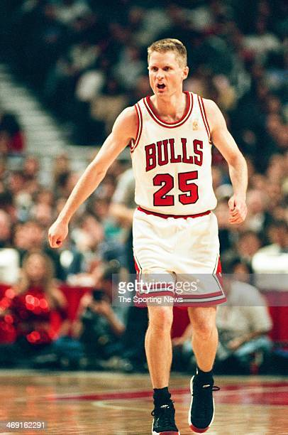 Steve Kerr of the Chicago Bulls during the game against the Atlanta Hawks on May 13 1997 at The Omni Coliseum in Atlanta Georgia