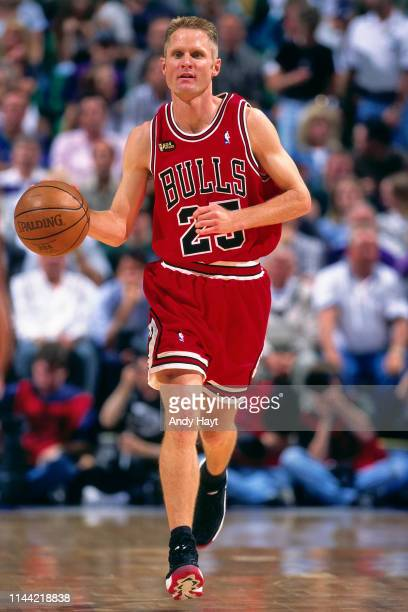 Steve Kerr of the Chicago Bulls handles the ball against the Utah Jazz during Game Six of the 1998 NBA Finals on June 14 1998 at the Delta Center in...