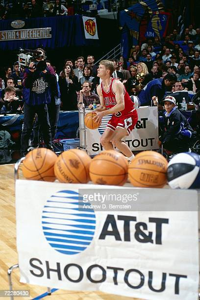 Steve Kerr of the Chicago Bulls shoots during the 1997 ATT Three Point Shootout on February 8 1997 at the Gund Arena in Cleveland Ohio NOTE TO USER...