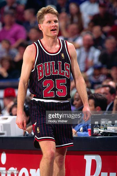 Steve Kerr of the Chicago Bulls walks against the Sacramento Kings during a game played on January 30 1997 at Arco Arena in Sacramento California...