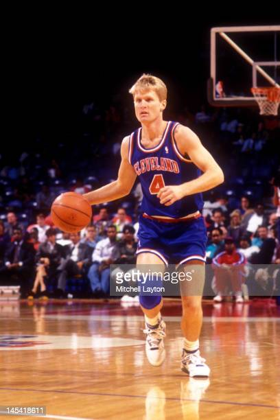 Steve Kerr of the Cleveland Cavaliers dribbles the ball during a basketball game against the Washington Bullets at the Capitol Centre on February 17...