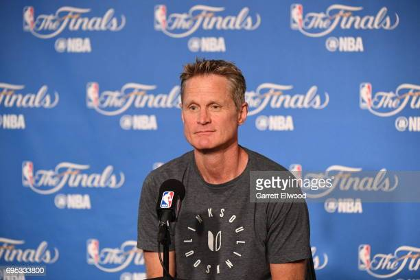 Steve Kerr of the Golden State Warriors addresses the media before the game against the Cleveland Cavaliers before Game Five of the 2017 NBA Finals...