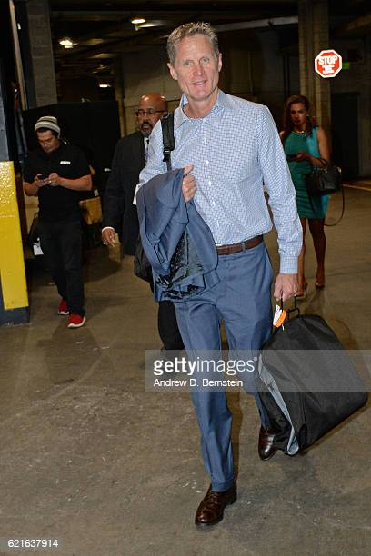 Steve Kerr of the Golden State Warriors arrives at the STAPLES Center before the game against the Los Angeles Lakers on November 4 2016 in Los...