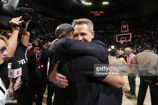 Steve Kerr of the Golden State Warriors celebrates after Game Four of the 2018 NBA Finals against the Cleveland Cavaliers on June 8 2018 at Quicken...