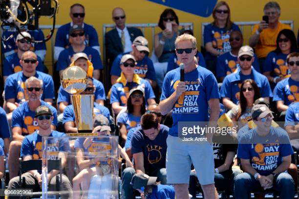 Steve Kerr of the Golden State Warriors celebrates winning the 2017 NBA Championship during a parade on June 15 2017 in Oakland CA NOTE TO USER User...