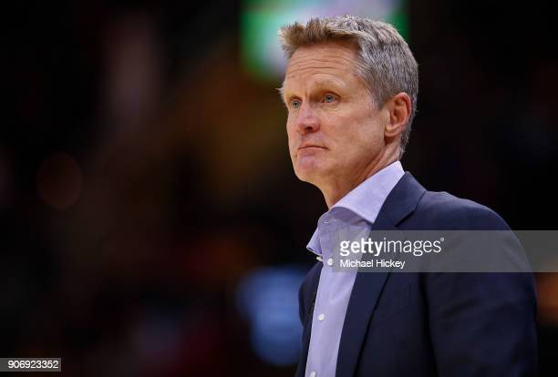 Steve Kerr of the Golden State Warriors during the game against the Cleveland Cavaliers at Quicken Loans Arena on January 15 2018 in Cleveland Ohio...