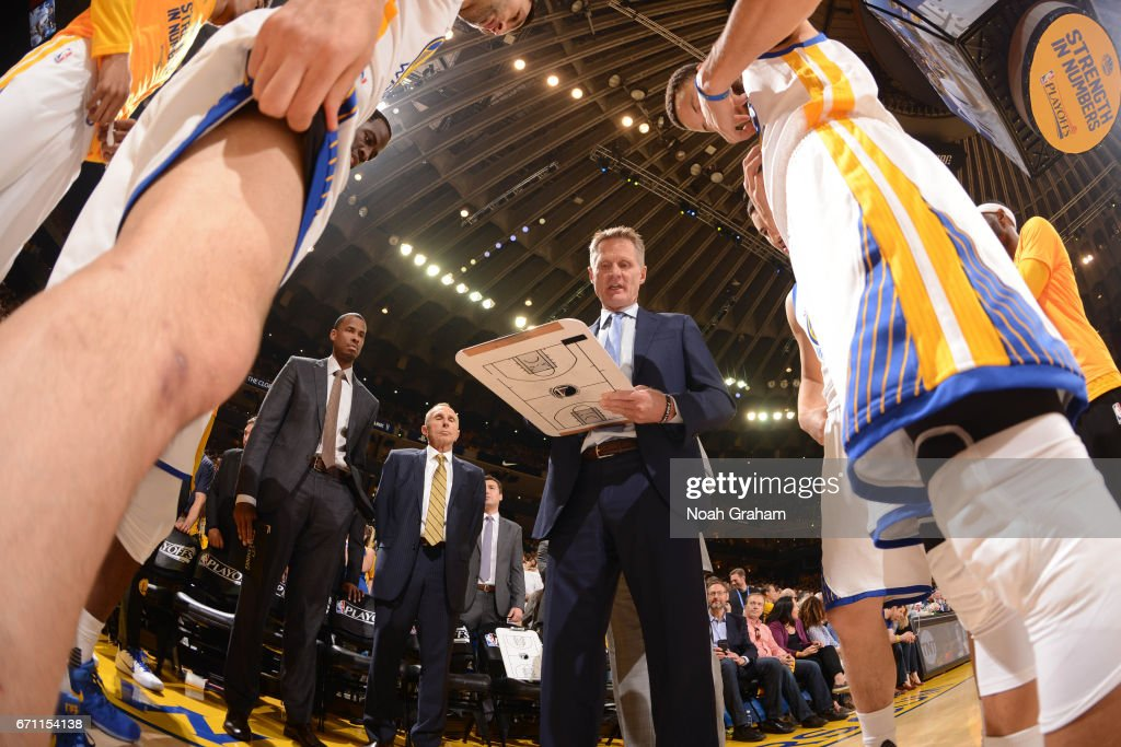 Steve Kerr of the Golden State Warriors huddles up with his team before Game Two of the Western Conference Quarterfinals against the Portland Trail Blazers during the 2017 NBA Playoffs on April 19, 2017 at ORACLE Arena in Oakland, California.