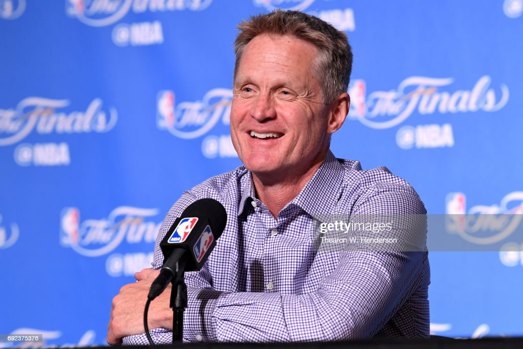 Steve Kerr of the Golden State Warriors speaks at a postgame press conference following their 132-113 win over the Cleveland Cavaliers in Game 2 of the 2017 NBA Finals at ORACLE Arena on June 4, 2017 in Oakland, California.