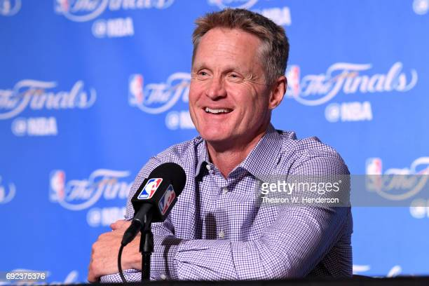 Steve Kerr of the Golden State Warriors speaks at a postgame press conference following their 132-113 win over the Cleveland Cavaliers in Game 2 of...