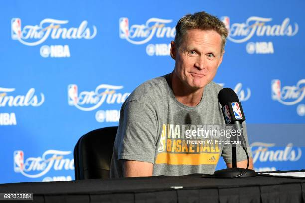 Steve Kerr of the Golden State Warriors speaks at a press conference prior to Game 2 of the 2017 NBA Finals at ORACLE Arena on June 4 2017 in Oakland...