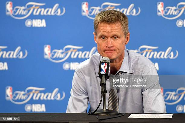 Steve Kerr of the Golden State Warriors speaks to members of the media after being defeated by the Cleveland Cavaliers in Game 7 of the 2016 NBA...