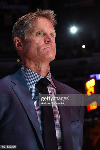 Steve Kerr of the Golden State Warriors stands on the court during the National Anthem before the game against the Los Angeles Lakers on November 4...
