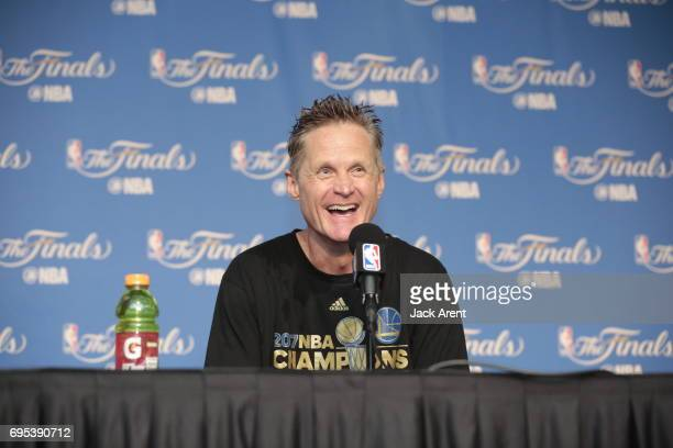 Steve Kerr of the Golden State Warriors talks to the media after winning the NBA Championship against the Golden State Warriors in Game Five of the...