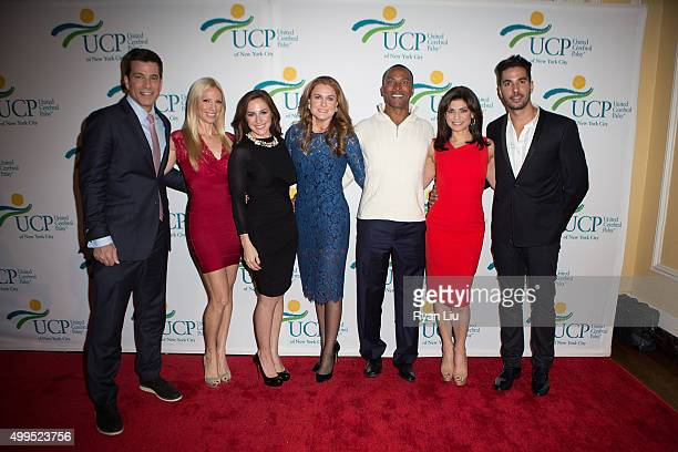 Steve lacy Liza Hube Teresa Priolo Sheila Lennon Mike Woods Tamsen Fadal and Javier Gomez attend the 6th Annual UCP Of NYC Santa Project Party and...