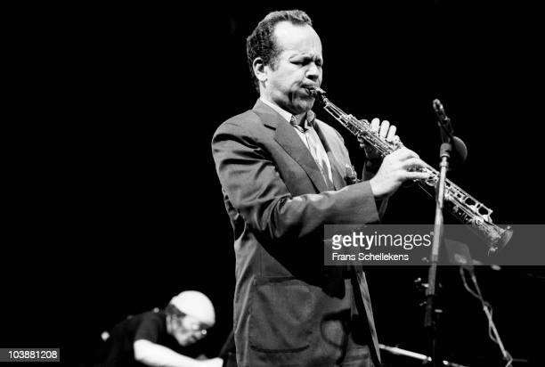 Steve Lacy performs live on stage with Cecil Taylor on piano behind at the North Sea Jazz Festival in The Hague, Holland on July 08 1984