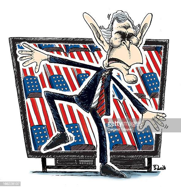 Steve Lait color cartoon of US President George W Bush trying to block a TV screen showing US casualities from the war in Iraq and Afghanistan Can...